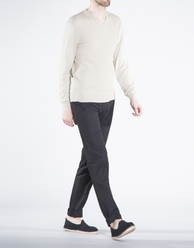 Structured beige knit sweater