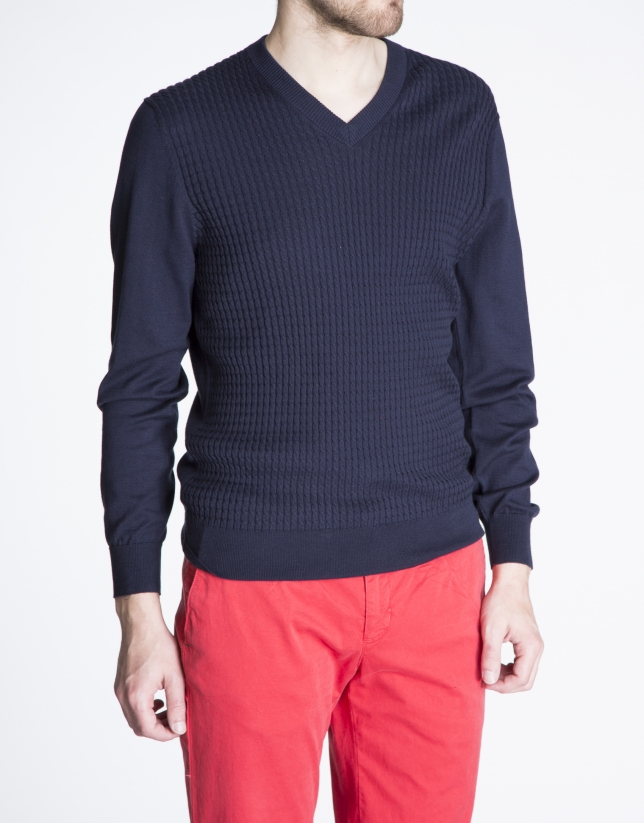 Structured navy blue knit sweater