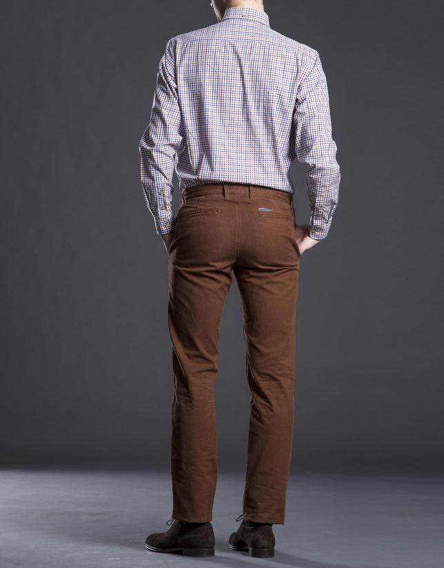 Pantalon ville coton noisette