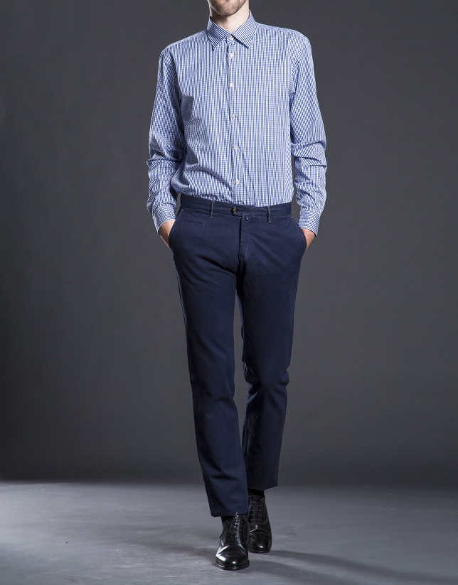 Pantalon ville coton bleu marine