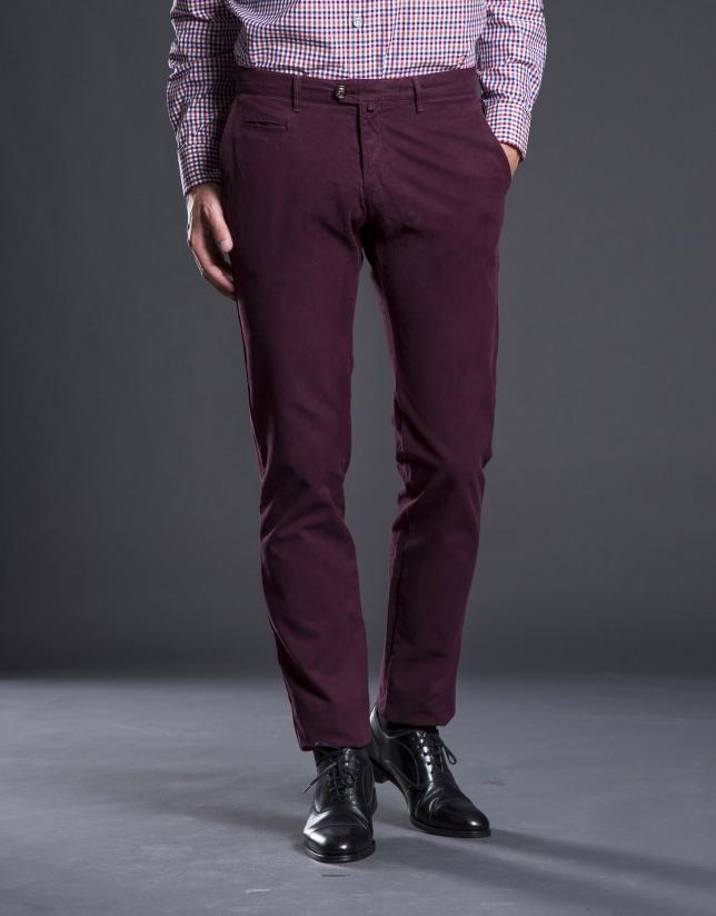 Burgundy cotton pants