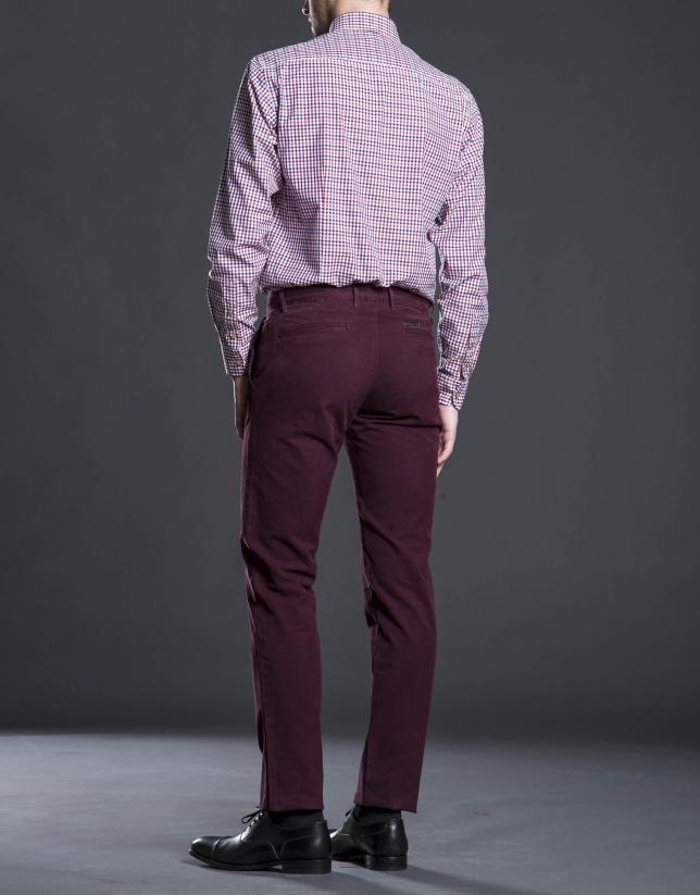 Pantalon ville coton grenat