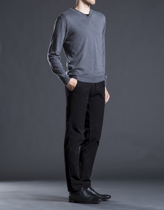 Pantalon ville coton noir