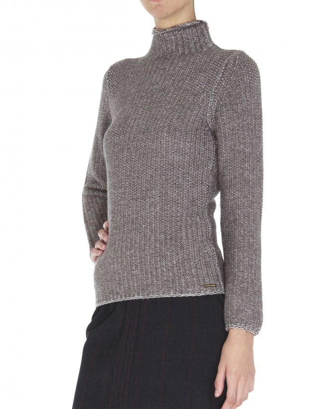 Beige sweater with turtle neck collar