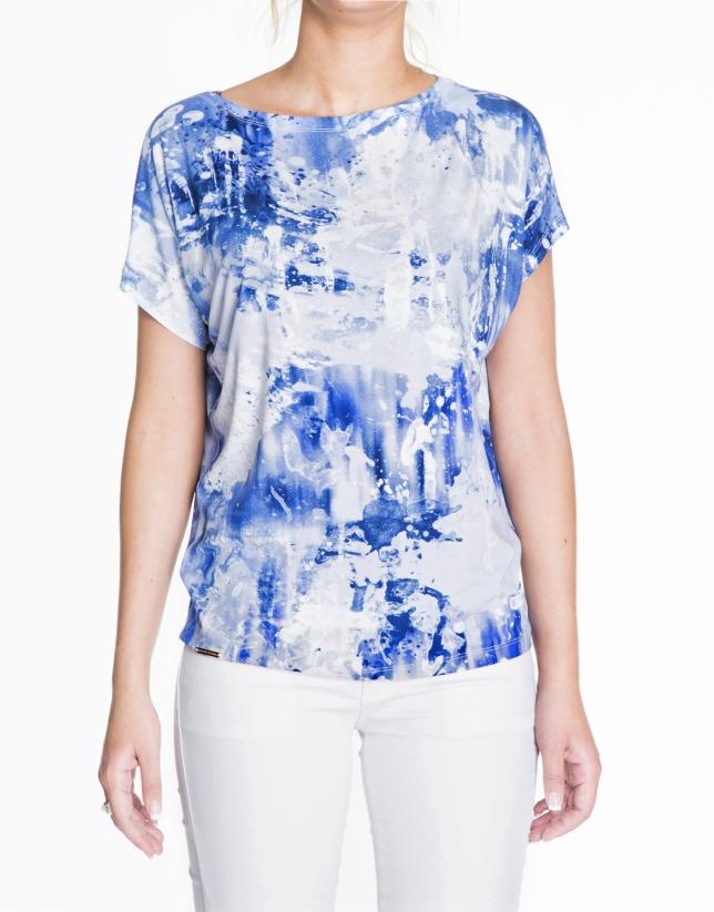 Camiseta floja estampado manchas azules