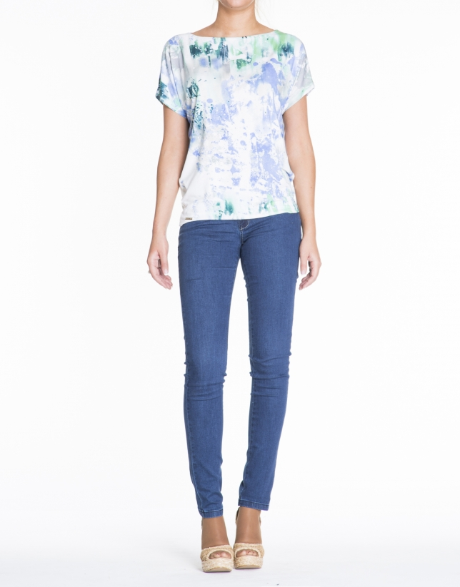 Loose white turquoise and blue print top