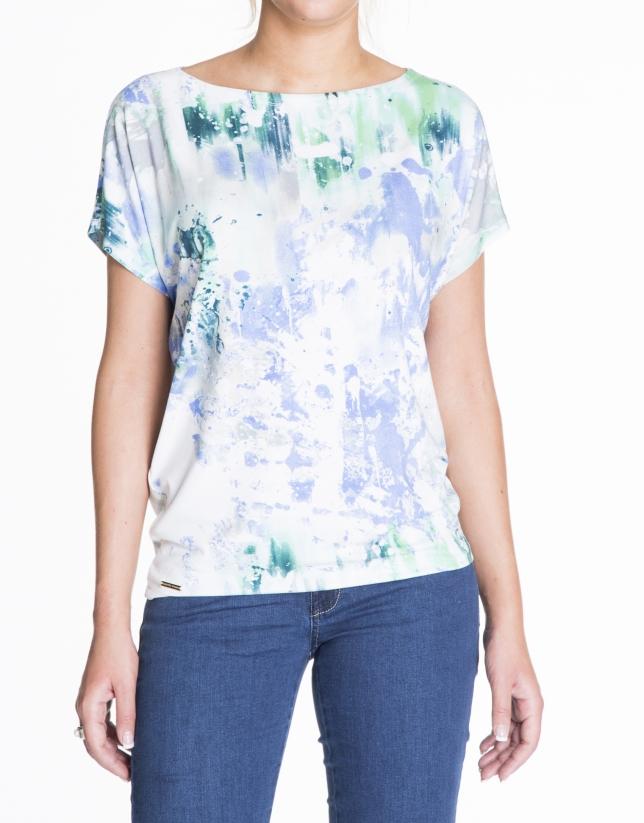 T-shirt ample, motifs tachetés turquoise et bleus.