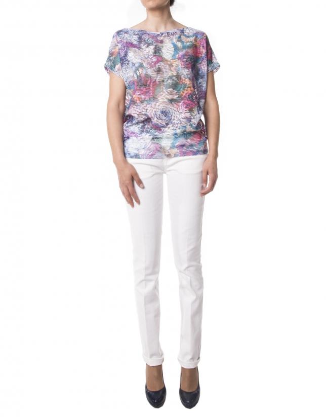 Camiseta estampado floral azul