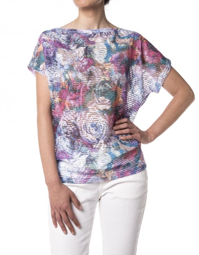 T-shirt bleu imprimé floral