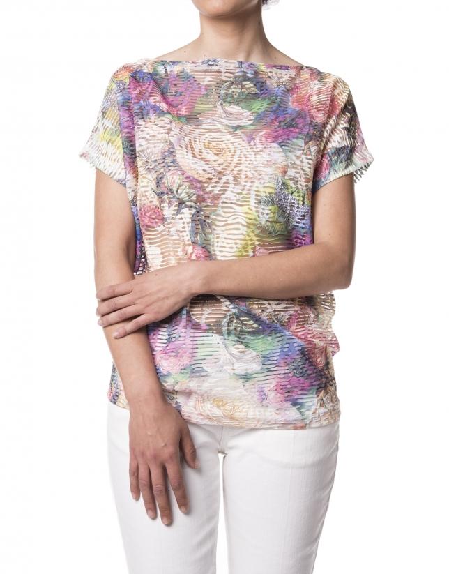 Camiseta estampado floral verde
