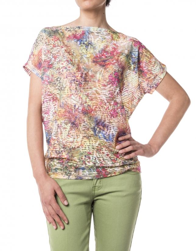 T-shirt motifs à fleurs, manches courtes, encolure dégagée