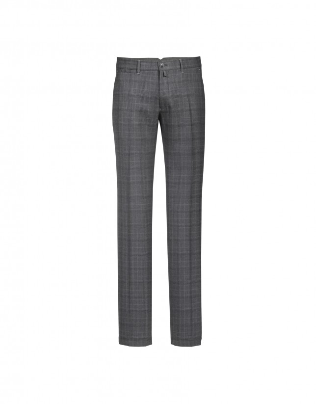 Grey Prince of  Wales pattern semi-formal trousers