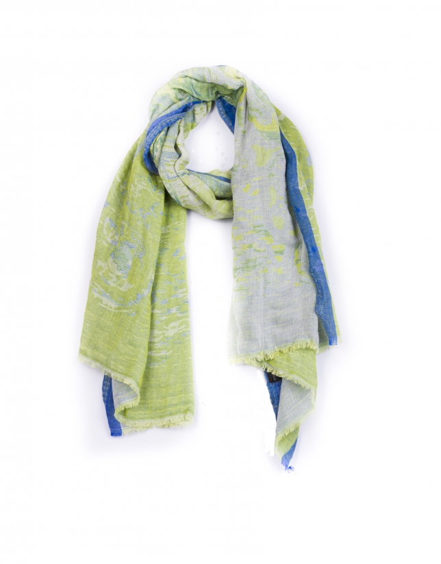 Bright green and blue scarf