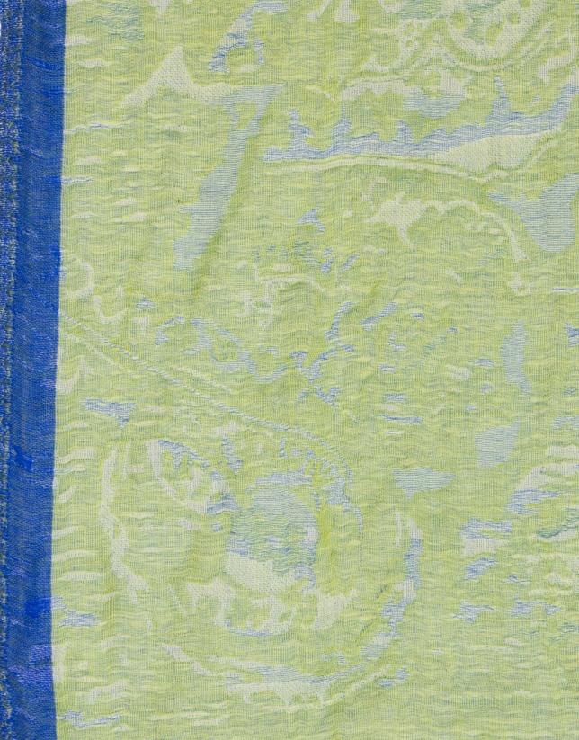 Étole vert lime et bleu