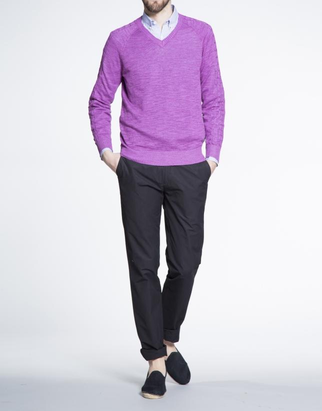 Jersey purpura punto pico ochos manga
