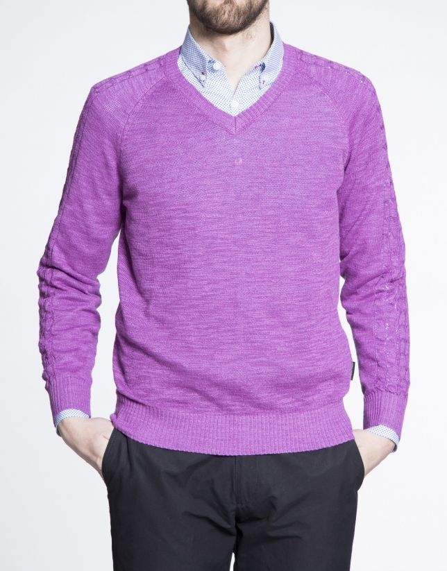 Purple cable stitch V neck sweater