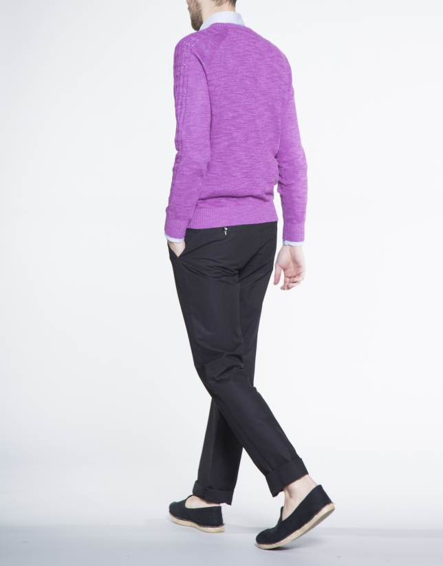 Purple cable stitch V neck sweater