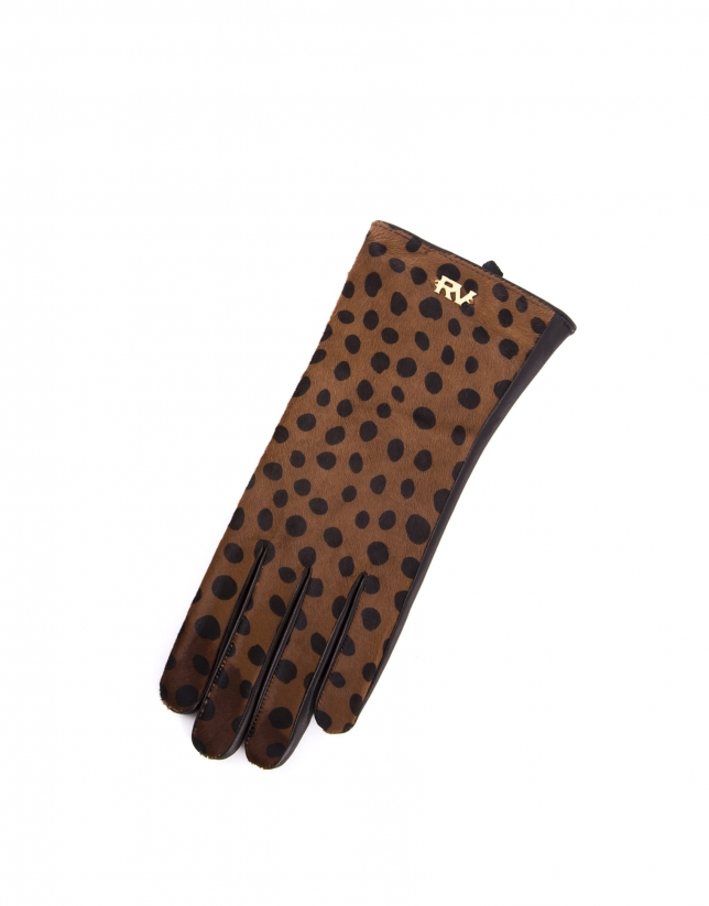 Brown and black animal print  leather gloves