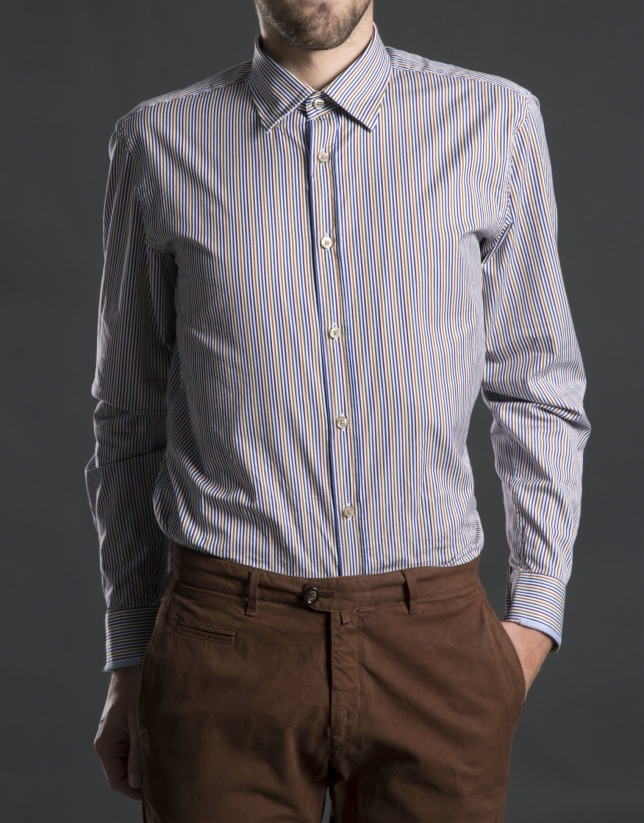 Blue and grey striped sports shirt