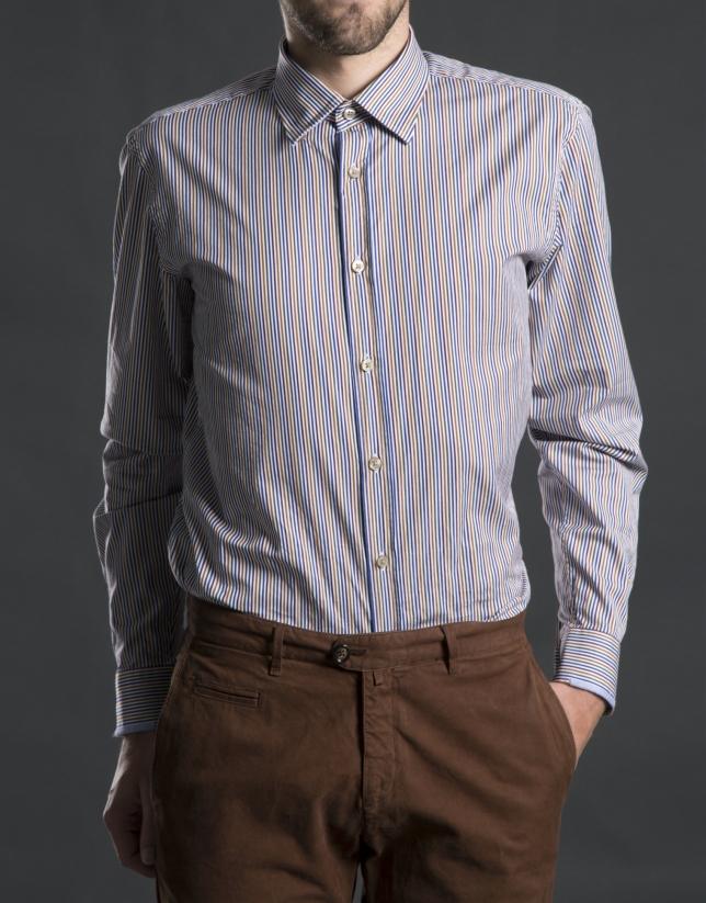 Camisa sport rayas azul gris