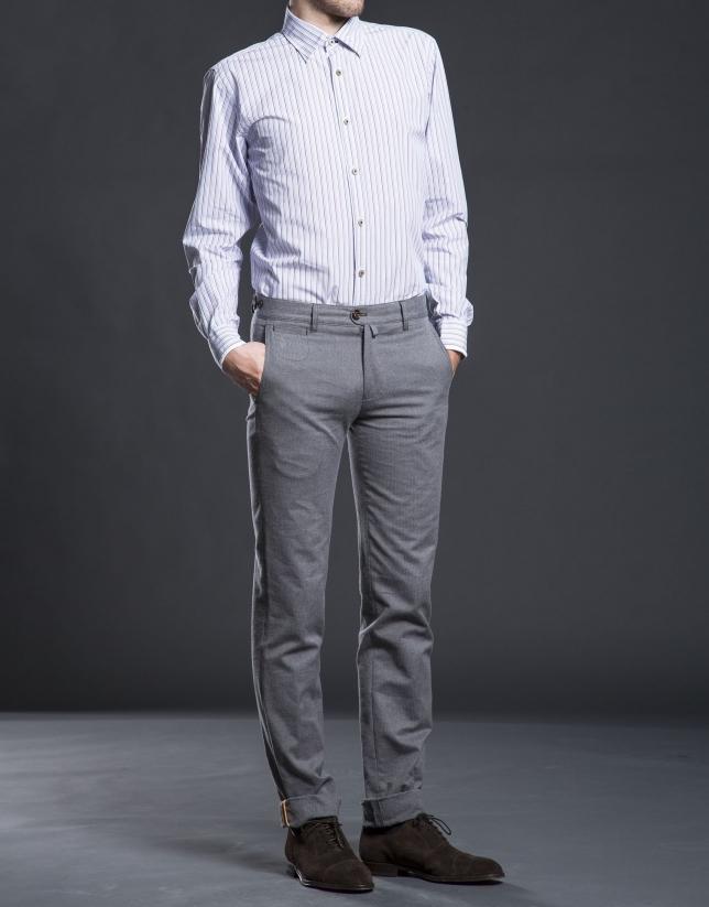 Camisa sport rayas azul frambuesa