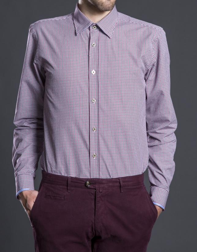 Camisa sport vichy rojo gris