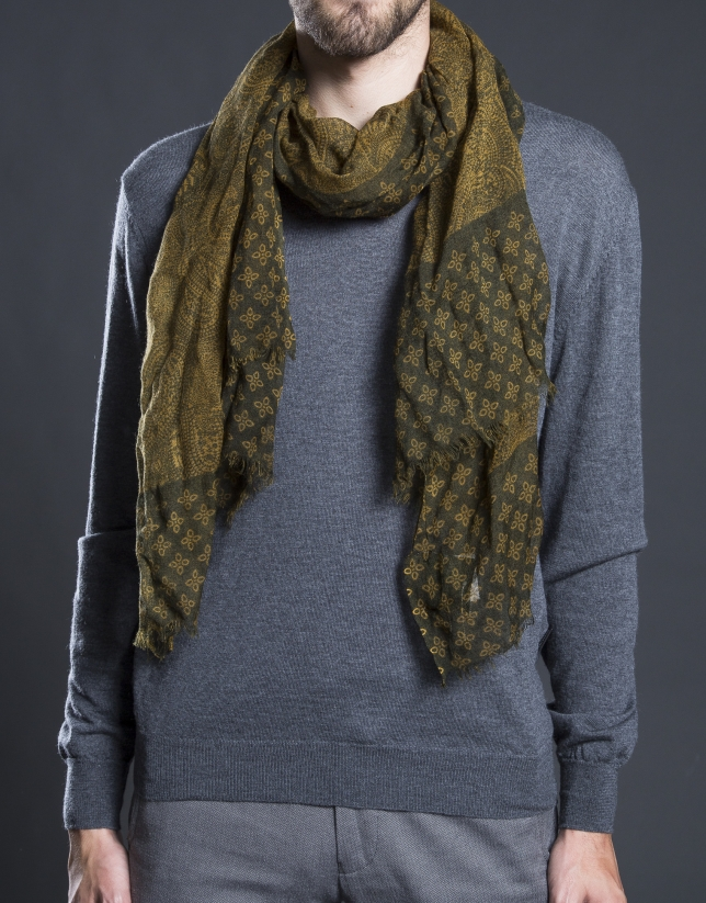 Khaki and gold print scarf