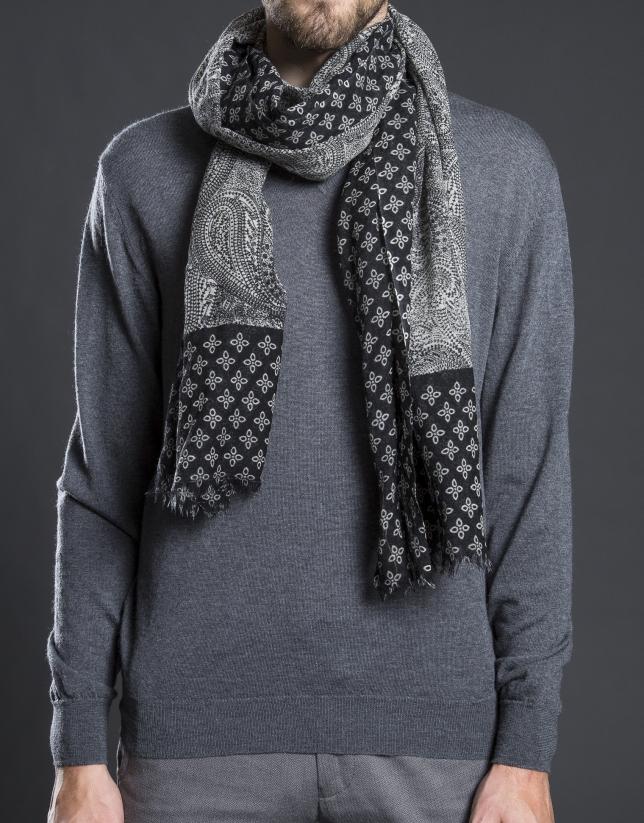 Foulard estampado blanco negro