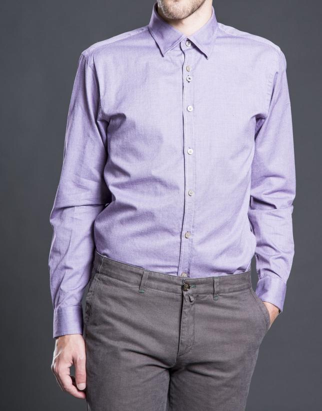 Camisa sport micro-dibujo berenjena