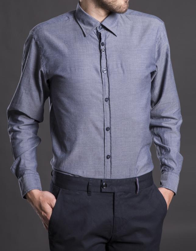 Navy blue Vichy sports shirt