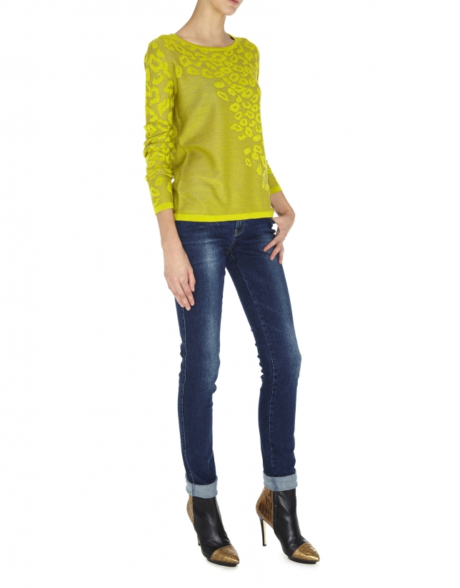 T-shirt vert en maille fine à manches longues, imprimé léopard