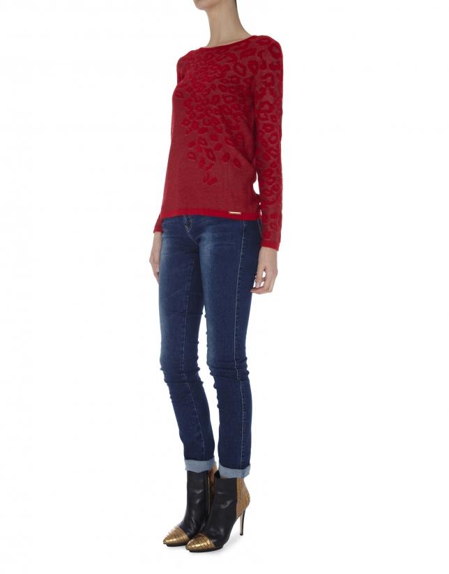 Camiseta punto roja manga larga estampado leopardo