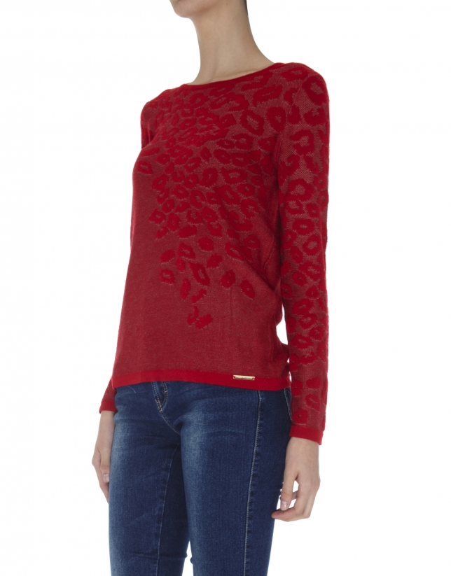 Red knit leopard print long sleeved top