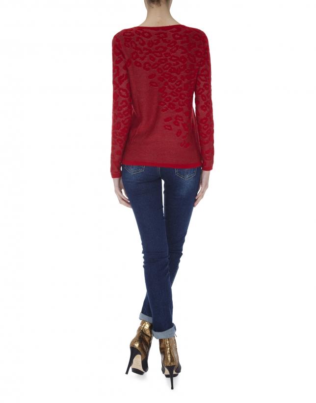 T-shirt rouge en maille fine à manches longues, imprimé léopard