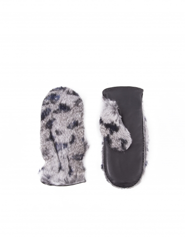 Black and blue animal print mittens with gray rabbit fur