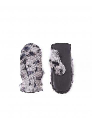 Moufle en poil de lapin gris naturel, imprimé animal en noir et bleu