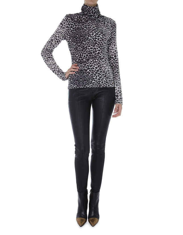 Animal print turtleneck top