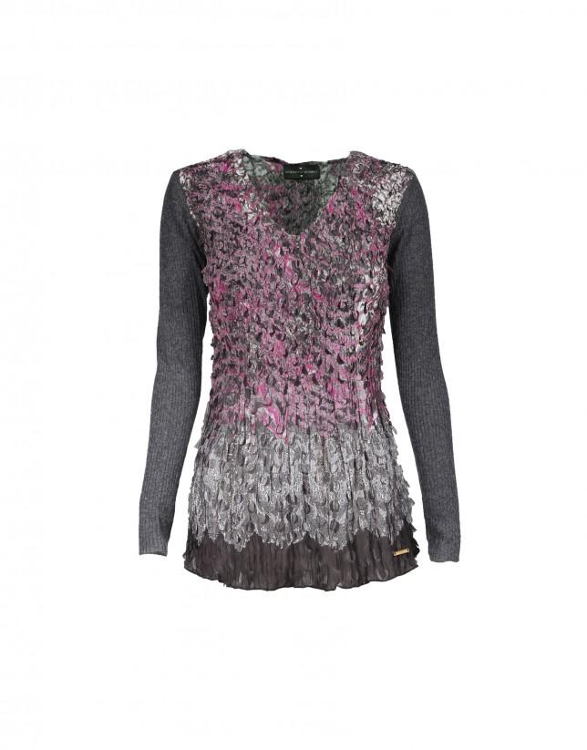 Knit chiffon T-shirt in grey and fuchsia