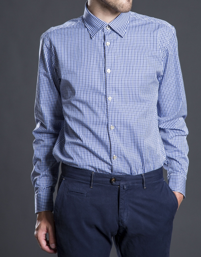 Blue checked sports shirt