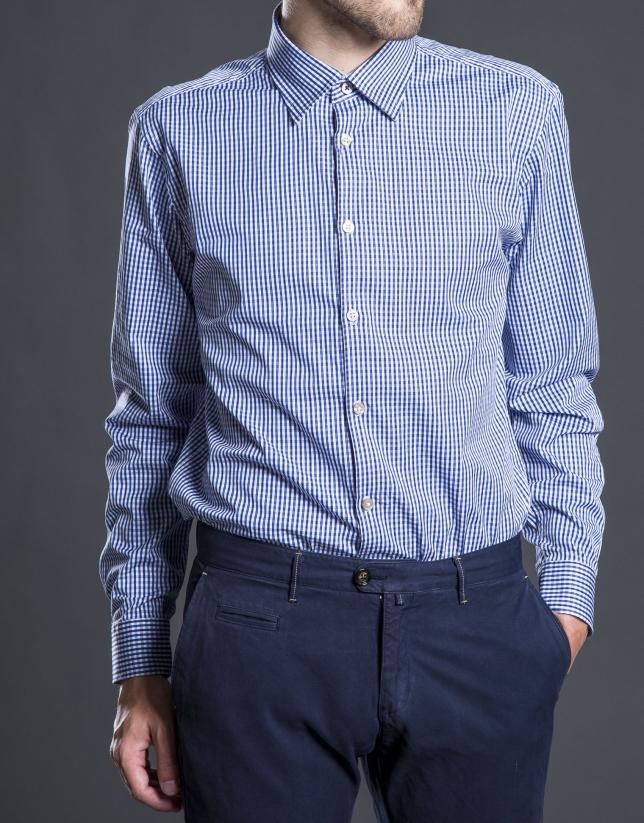 Chemise ville à carreaux bleu
