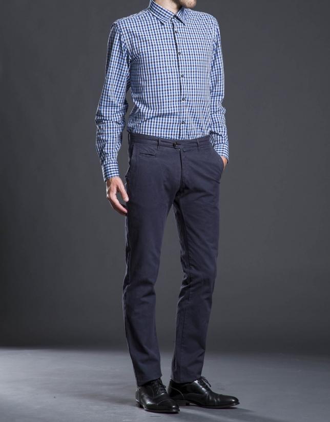 Blue check sports shirt