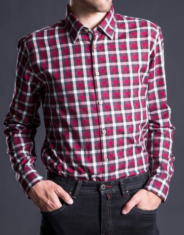 Camisa sport cuadro rojo gris