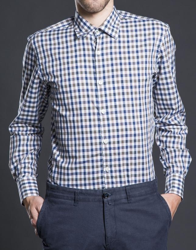 Camisa sport cuadro visón