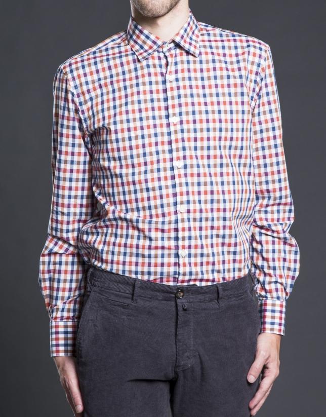 Camisa sport cuadro cobre