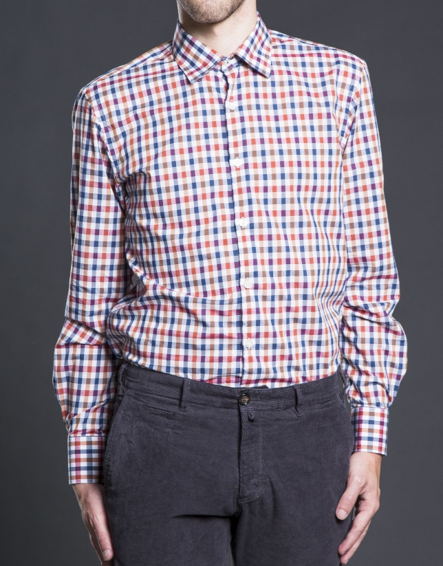 Copper checked sports shirt