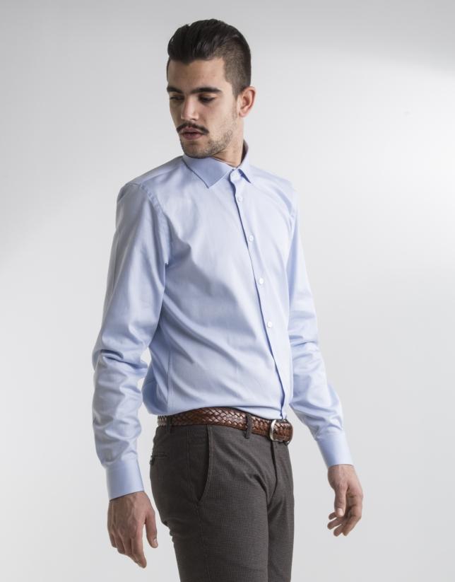 Camisa vestir microdibujo azul