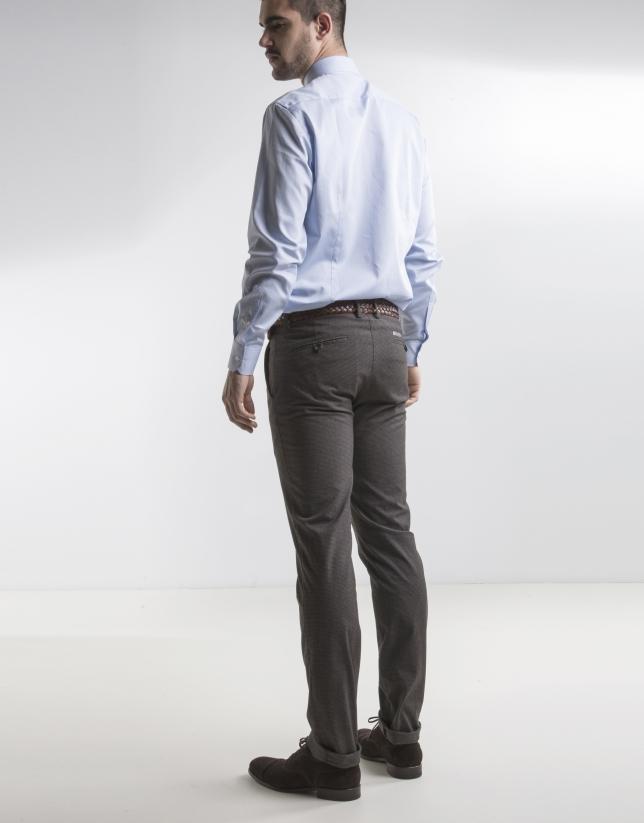 Chemise costume bleue à micromotifs