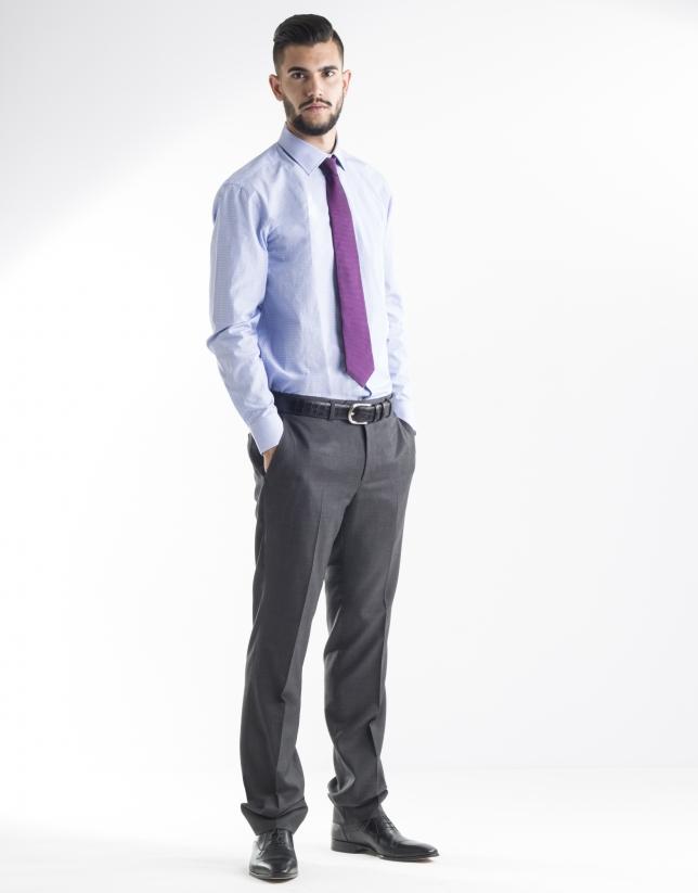 Chemise costume bleue à rayures