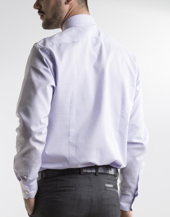 White and mauve microprint dress shirt