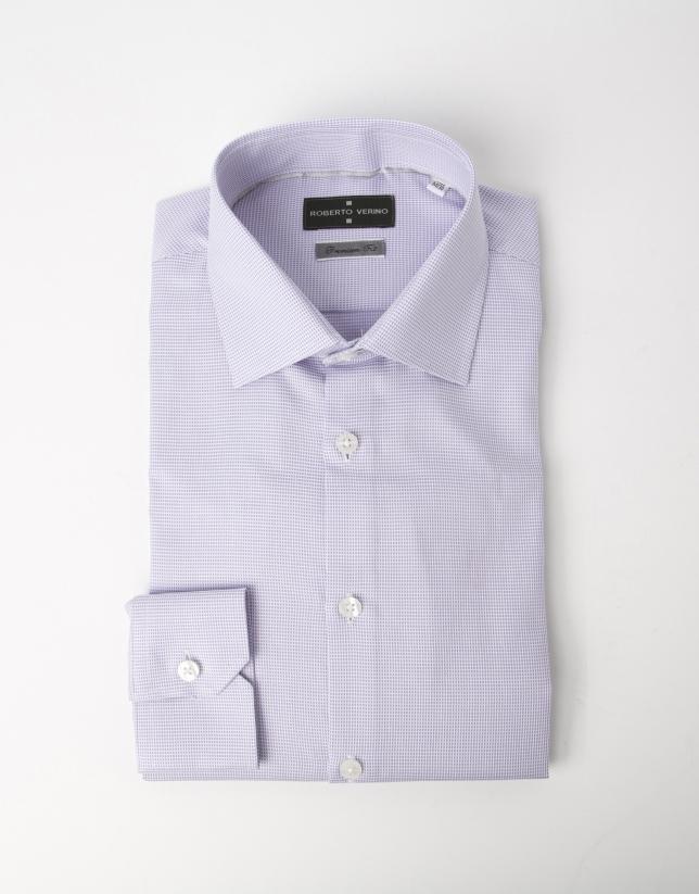 Chemise costume mauve et blanche à micromotifs